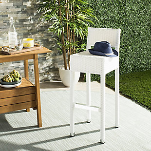 Safavieh Landry Indoor/Outdoor Bar Stool, White, rollover
