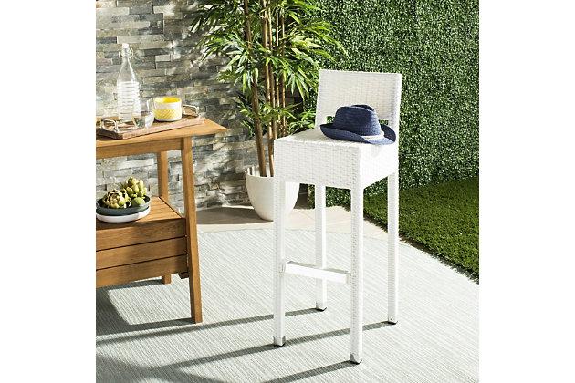 Safavieh Landry Indoor/Outdoor Bar Stool, White, large