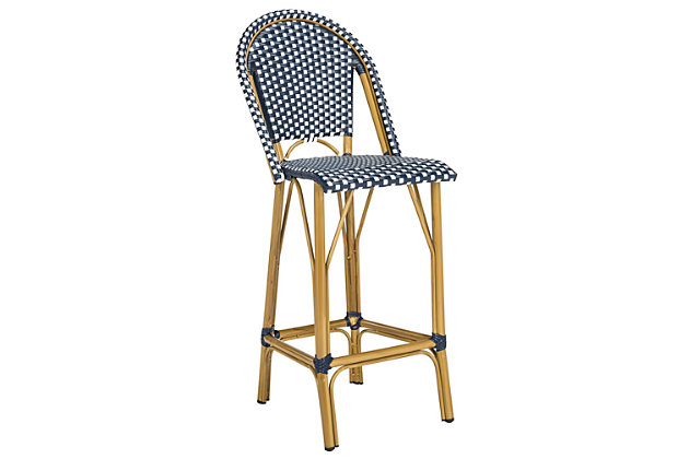 Safavieh Ford Indoor/Outdoor Stacking French Bistro Bar Stool, Blue/White, large