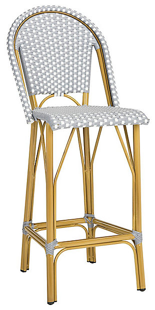 Safavieh Ford Indoor/Outdoor Stacking French Bistro Bar Stool, Gray/White/Brown, large