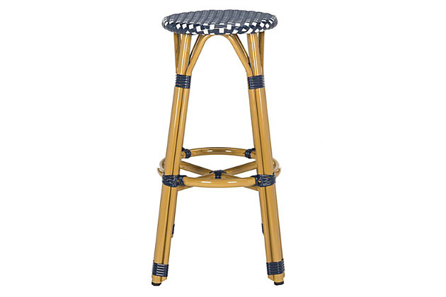 Safavieh Kelsey Indoor/Outdoor Bar Stool, Blue/White, large