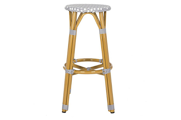Safavieh Kelsey Indoor/Outdoor Bar Stool, Gray/White/Brown, large