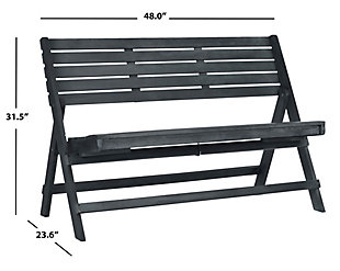 Safavieh Luca Folding Bench, Gray, large