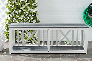 Safavieh Branco Bench, White/Gray, rollover