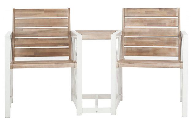 Safavieh Jovanna 2 Seat Bench, White/Brown, large