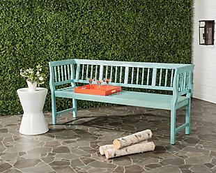 Safavieh Brentwood Bench, Blue/Beige, rollover
