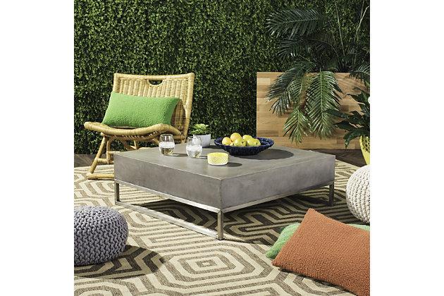 Eartha Indoor Outdoor Modern Concrete Coffee Table Ashley Furniture Homestore