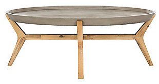 Safavieh Hadwin Indoor/Outdoor Modern Concrete Oval Coffee Table, , large