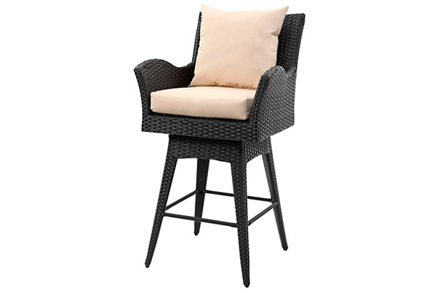 Safavieh Hayes Outdoor Wicker Swivel Armed Counter Stool, Black/Beige, large
