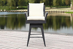 Safavieh Hayes Outdoor Wicker Swivel Armed Counter Stool, Black/Beige, rollover