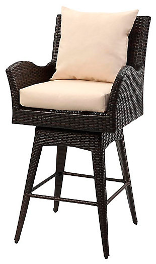 Safavieh Hayes Outdoor Wicker Swivel Armed Counter Stool, , large