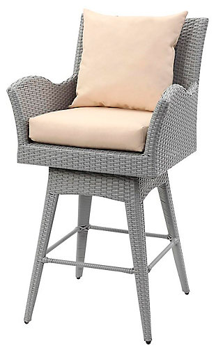 Safavieh Hayes Outdoor Wicker Swivel Armed Counter Stool, Gray/Beige, large
