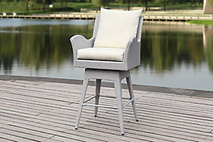 Safavieh Hayes Outdoor Wicker Swivel Armed Counter Stool, Gray/Beige, rollover