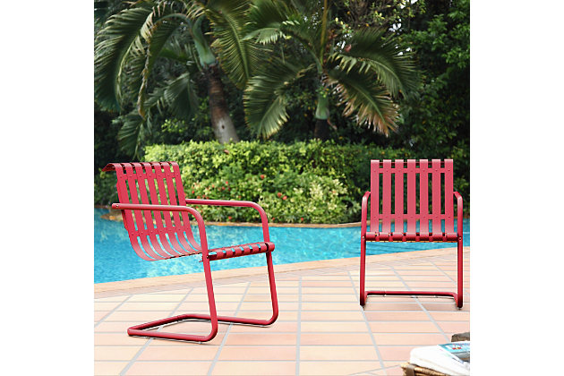 Crosley Gracie 2-Piece Stainless Steel Chair Set, Red, large