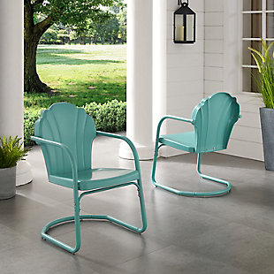 Crosley Tulip 2-Piece Chair Set, Blue, rollover