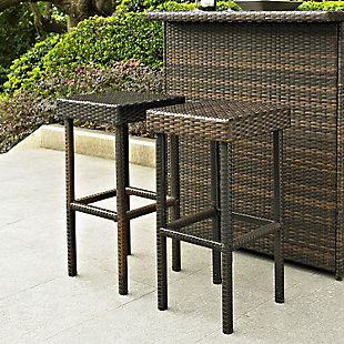 Crosley Palm Harbor 2-Piece Outdoor Wicker Bar Height Bar Stool Set, Brown, rollover