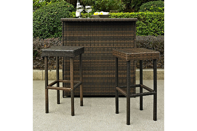 Crosley Palm Harbor 2-Piece Outdoor Wicker Bar Height Bar Stool Set, Brown, large