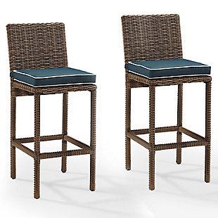 Crosley Bradenton 2-piece Outdoor Wicker Bar Height Bar Stool Set, Blue, large