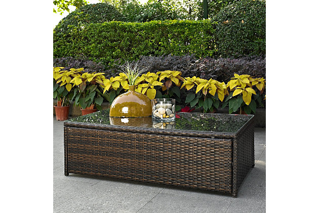 Crosley Palm Harbor Outdoor Wicker Coffee Table, , large
