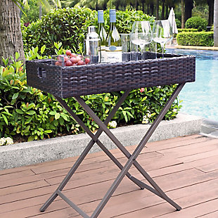 Crosley Palm Harbor Outdoor Wicker Butler Tray, , large