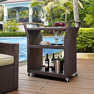 Crosley Palm Harbor Outdoor Wicker Bar Cart, , rollover