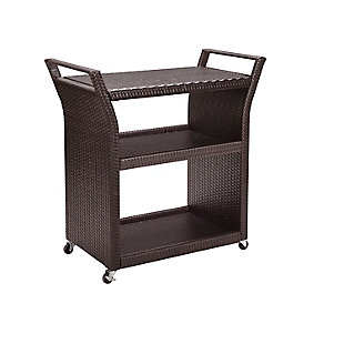 Crosley Palm Harbor Outdoor Wicker Bar Cart, , large