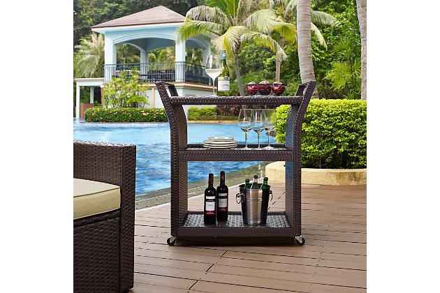 Crosley Palm Harbor Outdoor Wicker Bar Cart, , large