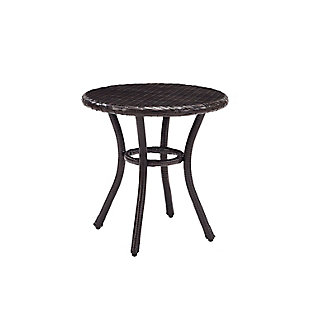 Crosley Palm Harbor Outdoor Wicker Round Side Table, , large