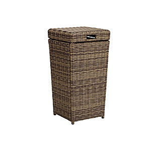 Crosley Bradenton Outdoor Wicker Trash Can, , large