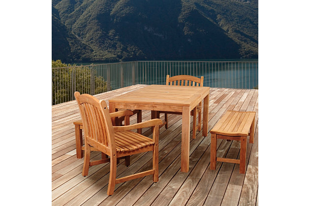 Amazonia 5-Piece Teak Rectangular Dining Set by Ashley HomeStore, Brown