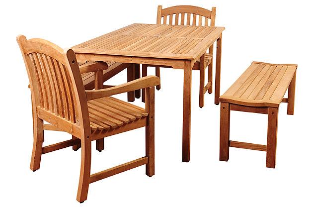 Amazonia 5-Piece Teak Rectangular Dining Set by Ashley HomeStore, Brown