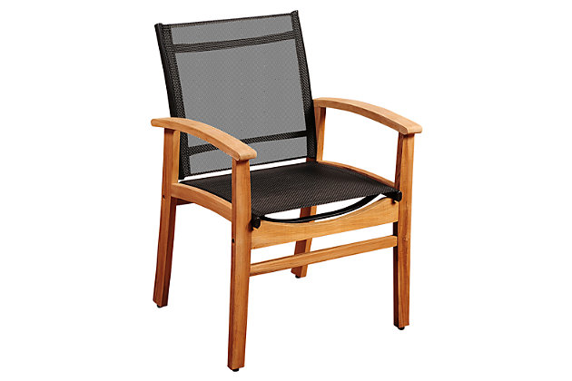 Amazonia Fortuna Teak Dining Armchair with Black Textile Sling by Ashley HomeStore, Black