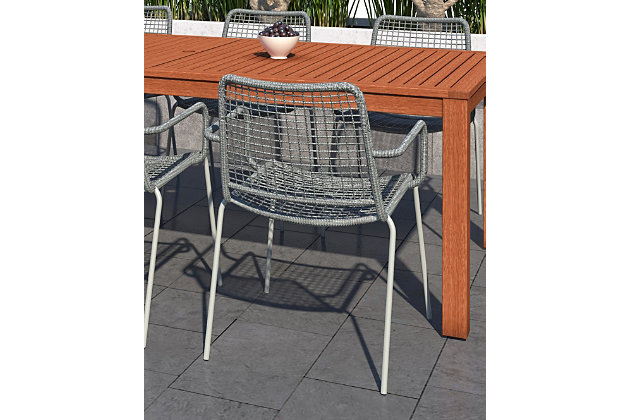 Amazonia Steel & Rope Grey Arm Chair (Set of 2), , large
