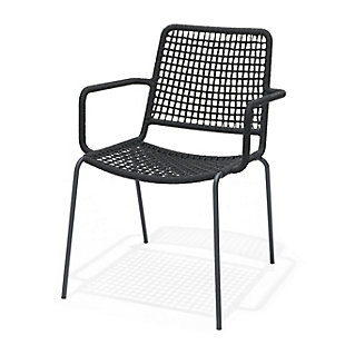 Amazonia Steel & Rope Black Arm Chair (Set of 2), , large