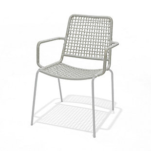 Amazonia Steel & Rope Grey Arm Chair (Set of 4), , large