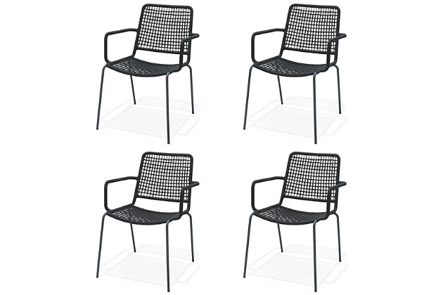 Amazonia Steel & Rope Black Arm Chair (Set of 4), , large