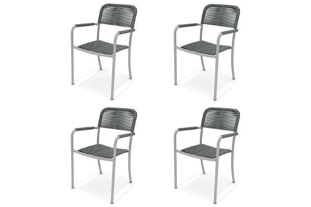 Amazonia Aluminum & Rope Grey Arm Chair (Set of 4), , large