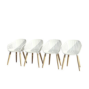 Amazonia Teak Finish White Arm Chair (Set of 4), White, large