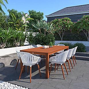 Amazonia Eucalyptus Wood White Arm Chair (Set of 4), White, rollover