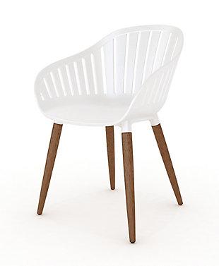 Amazonia Eucalyptus Wood White Arm Chair (Set of 4), White, large