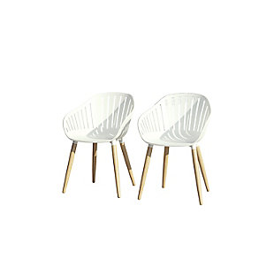 Amazonia Teak Finish White Arm Chair (Set of 2), , large