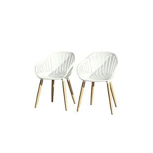 Amazonia Teak Finish White Arm Chair (Set of 2), , large