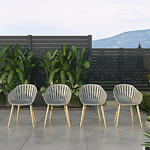 Amazonia Teak Finish Grey Arm Chair (Set of 4), , rollover