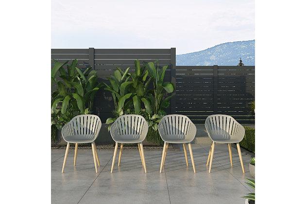 Amazonia Teak Finish Grey Arm Chair (Set of 4), , large