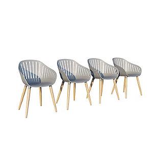 Amazonia Teak Finish Grey Arm Chair (Set of 4), Gray, large