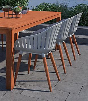 Amazonia Eucalyptus Wood Grey Arm Chair (Set of 4), Gray, large