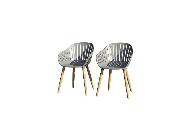 Amazonia Teak Finish Grey Arm Chair (Set of 2), Gray, large