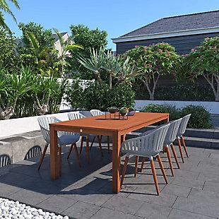 Amazonia Eucalyptus Wood Grey Arm Chair (Set of 2), Gray, rollover
