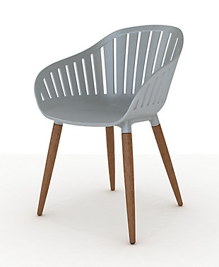 Amazonia Eucalyptus Wood Grey Arm Chair (Set of 2), Gray, large