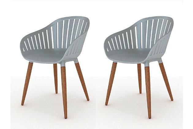 Amazonia Eucalyptus Wood Grey Arm Chair (Set of 2), , large
